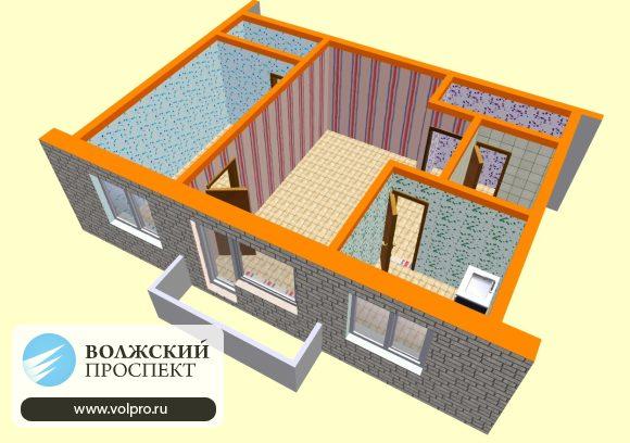 2 комнатная квартира (3D