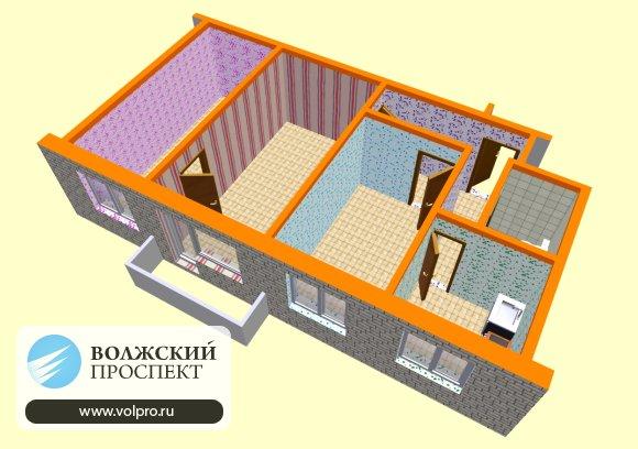 3 комнатная квартира (3D