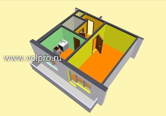 1 комнатная квартира (3D