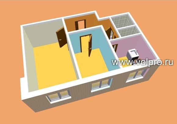 2 комнатная квартира (без